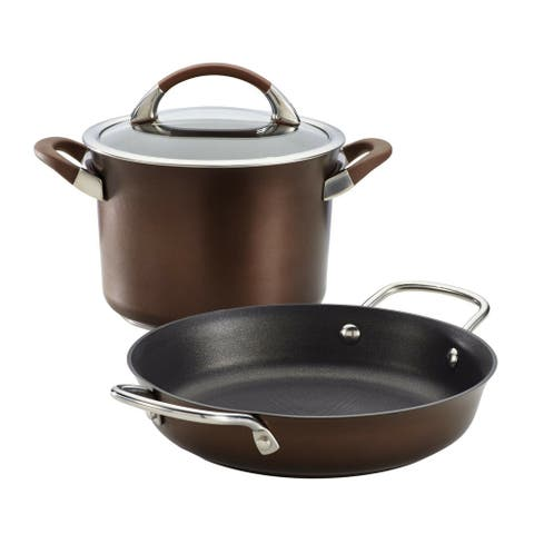 Circulon 83525 Symmetry Hard-Anodized Nonstick 3-Piece Cookware Set, Chocolate