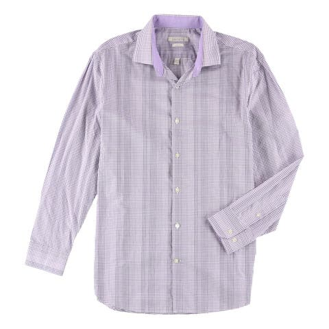 "Perry Ellis Mens Check Button Up Dress Shirt, Purple, 16.5"" Neck 32""-33"" Sleeve"
