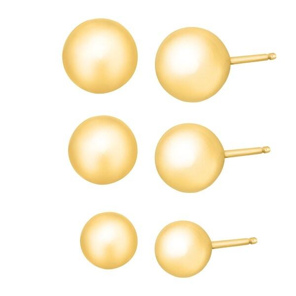 Eternity Gold 4-6 mm Ball Stud Earring Set in 14K Gold - YELLOW