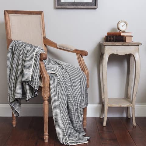 Casey Dark Grey Cotton Throw Blanket