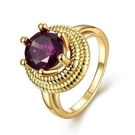 Thick Cut Gold Purple Citrine Gem Ring