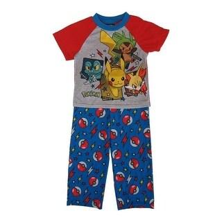 Pokemon Boys Blue Red Characters Short Sleeve 2 Pcs Pajama Set