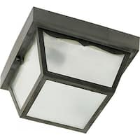 "Nuvo Lighting 77/891 2-Light 10-1/4"" Wide Outdoor Flush Mount Square Ceiling Fixture with Frosted Glass Shade - Black - N/A"