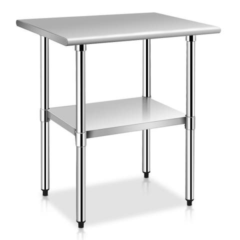 Costway 24'' x 30'' Stainless Steel Work Prep Table Commercial Kitchen Restaurant - sliver