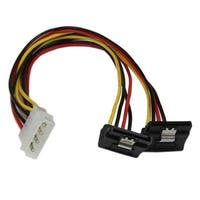 Startech Pyo2lp4lsatr 12In Lp4 To 2X Right Angle Latching Sata Power Y Cable Splitter