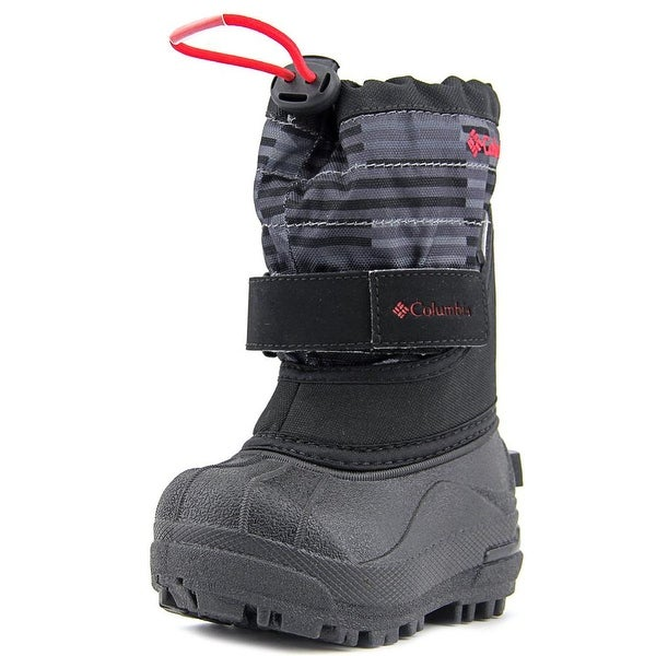 Columbia Powderbug Plus II Print Youth Round Toe Synthetic Black Snow Boot