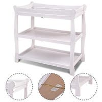 Costway White Sleigh Style Baby Changing Table Infant Newborn Nursery Diaper Station