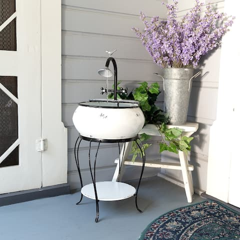 """Alpine Corporation 32"""" Tall Outdoor Antique Metal Sink Water Fountain and Stand, White"""
