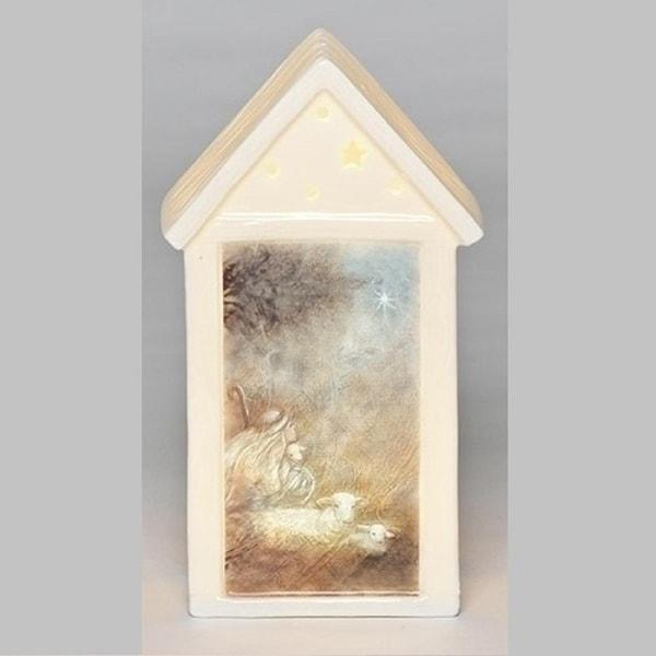 "7.5"" Inspirational LED Lighted Porcelain Shepherd Lantern Christmas Table Top Decoration"