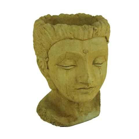 Designer Stone Harvest Yellow Jaipur Queen Head Concrete Planter - 12.75 X 10.25 X 9 inches