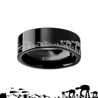 THORSTEN - Hoth Battle Star Wars Alliance Galactic Imperial Invasion ATAT ATST Black Tungsten Engraved Ring - 6mm