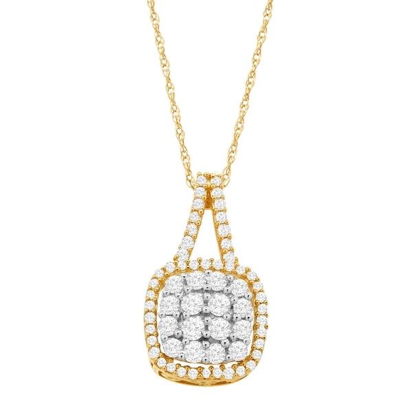 1/2 ct Diamond Cushion Pendant in 10K Gold