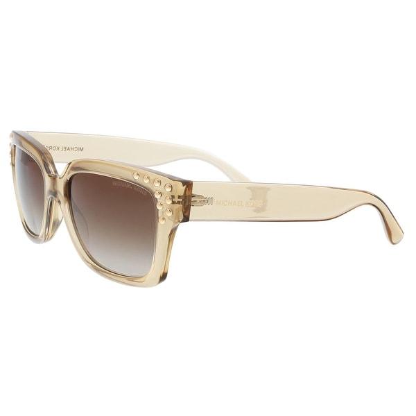 07c39dd5467ea Michael Kors MK2066 334313 Light Brown Crystal Rectangle Sunglasses - 55-17 -140