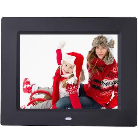 Costway 8'' IPS LCD Digital Photo Frame Calendar Clock Function MP3