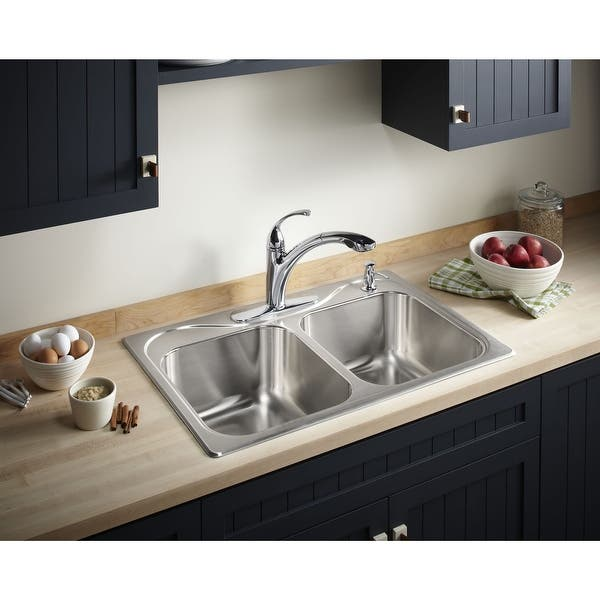 Sterling 11850-4 Southhaven 33in Double Basin Drop In Stainless Steel  Kitchen Sink with SilentShield - Stainless Steel
