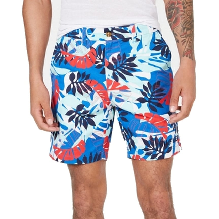 Tommy Hilfiger Mens Blue The Flex Shorts New 29 38 x 9 inseam Flat Front Chino