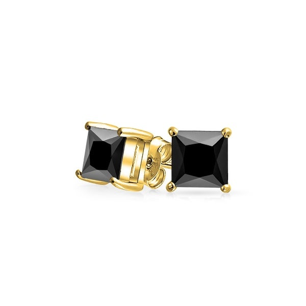 b475ece4c Shop .50 CT Black Square Cubic Zirconia Princess Cut CZ Stud Earrings For  Men Prong Set 14K Gold Plated Sterling Silver 5MM - On Sale - Free Shipping  On ...