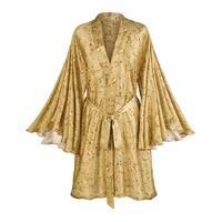Women's Flutter Sleeve Silk Satin Robe - Tie Belt - Goldenrod Print
