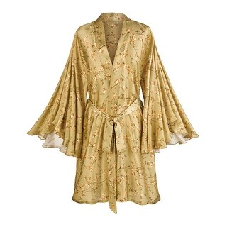 Women's Flutter Sleeve Silk Satin Robe - Tie Belt - Goldenrod Print (3 options available)