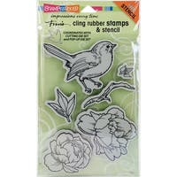 Stampendous Cling Stamps & Stencil Set-Bird Blossom