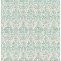 Brewster 1014-001819 Waverly Turquoise Petite Damask Wallpaper - waverly turquoise