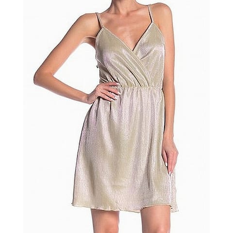 Angie Womens Shift Dress Gold Size Medium M Pleated Shimmer Surplice