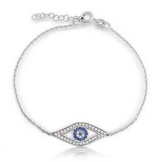 Bling Jewelry .925 Sterling Silver Evil Eye Bracelet with CZ