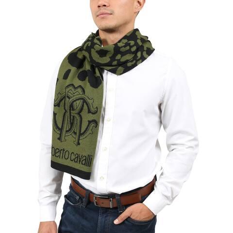 Roberto Cavalli ESZ030 04000 Green Wool Blend Leopard Print Mens Scarf - 30
