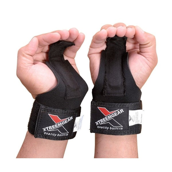 POWER WEIGHT LIFTING STRAPS FOR WRIST SUPPORT GYM TRAINING BANDAGE BLACK H-1