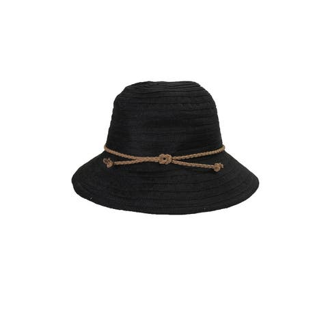 August Hat Black Braided Band Fedora Hat OS