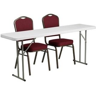 Rivera 3pcs 18''W x 72''L Rectangular Table w/2 Stack Chairs, Crown Back