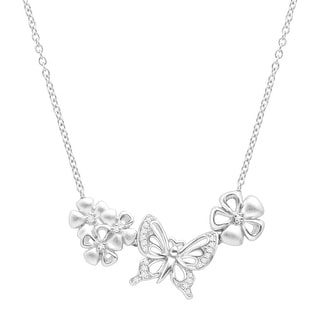 Butterfly & Flowers Necklace with Diamonds in Sterling Silver