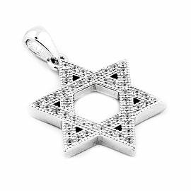 6 point Star Pendant Charm Sterling Silver Star David With CZ 19mm
