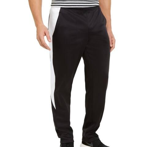 Ideology Mens Sweatpants Black Large L Contrast Side Stripe Fleece-Lined