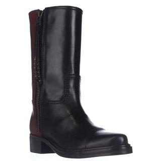 Coach Short Western Mid-Calf Two-Tone Boots, Black/Sienna