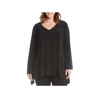 Karen Kane Womens Plus Tunic Top Applique Bell Sleeves