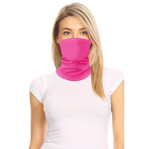 Women's Solid Print Multi Functional Washable Bandana Mask Cover Face Neck Gaiter