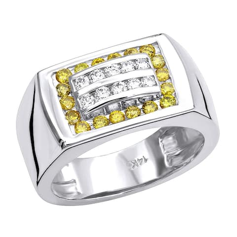 Men's Pinky Ring White & Yellow Diamond Band 0.6ctw in 14k Gold by Luxurman