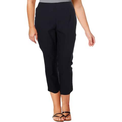 Nic + Zoe Womens Plus Wonderstretch Cropped Pants High Rise Casual - Blueprint