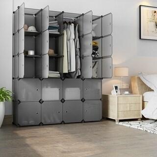 LANGRIA 20 Cube Organizer Stackable Plastic Cube Storage Shelves (Transparent Gray)