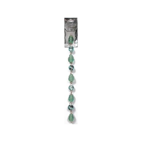 Cousin Bead Strand Glass Wire Wrapped Lt Teal 9pc