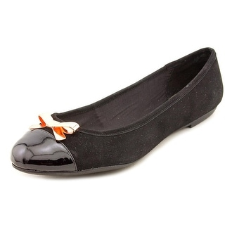 INC International Concepts Paisley Women Cap Toe Suede Black Flats