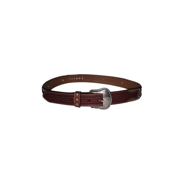 Roper Western Belt Mens Basket Weave Studs Leather 38 Brown
