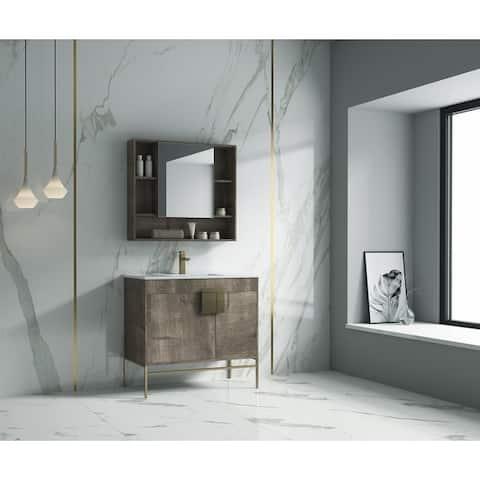"Alma Bulanka 36"" Bathroom Vanity with Golden Brass Hardware"