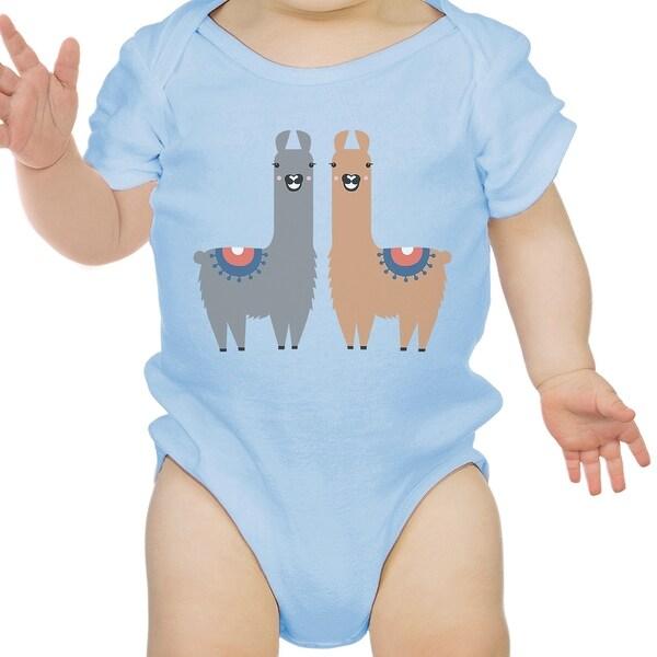Llama Pattern Infant Bodysuit Gift Sky Blue