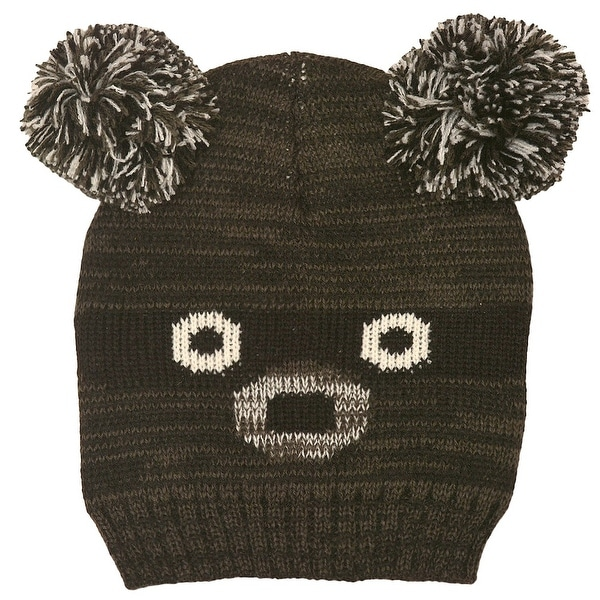 f7c6857baa6 Shop Gold Medal Boys Black Melange Bear Face Double Pom-Pom Accent Knit  Beanie Hat - Free Shipping On Orders Over  45 - Overstock - 18607517