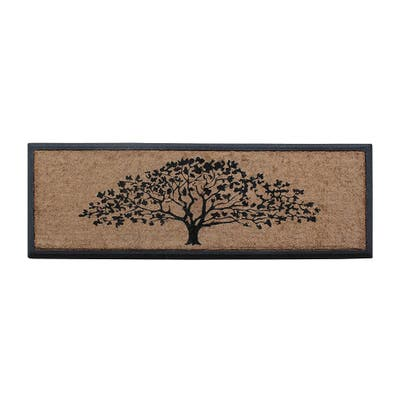 """A1HC First Impression Hand-Crafted Rubber Coir Life of Tree Double Door Mat,18""""X48"""""""