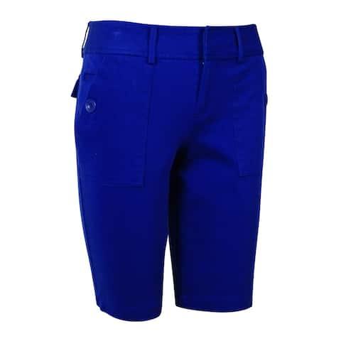 INC International Concepts Women's Solid Bermuda Shorts - Goddess Blue - 0