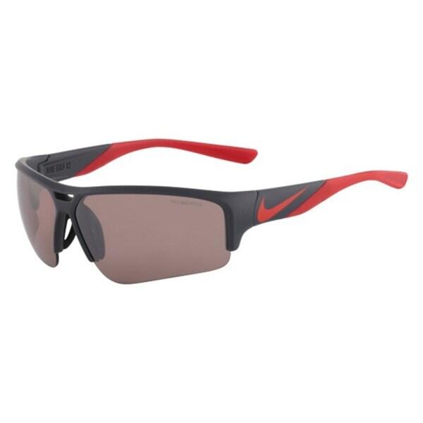 Nike Mens Golf X2 Pro E Sport Sunglasses Max Speed Tint Semi Rimless - matte dark magnet gray/challenge red - o/s