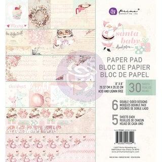 "Prima Marketing Double-Sided Paper Pad 8""X8"" 30/Pkg-Santa Baby, 6 Designs/5 Each"